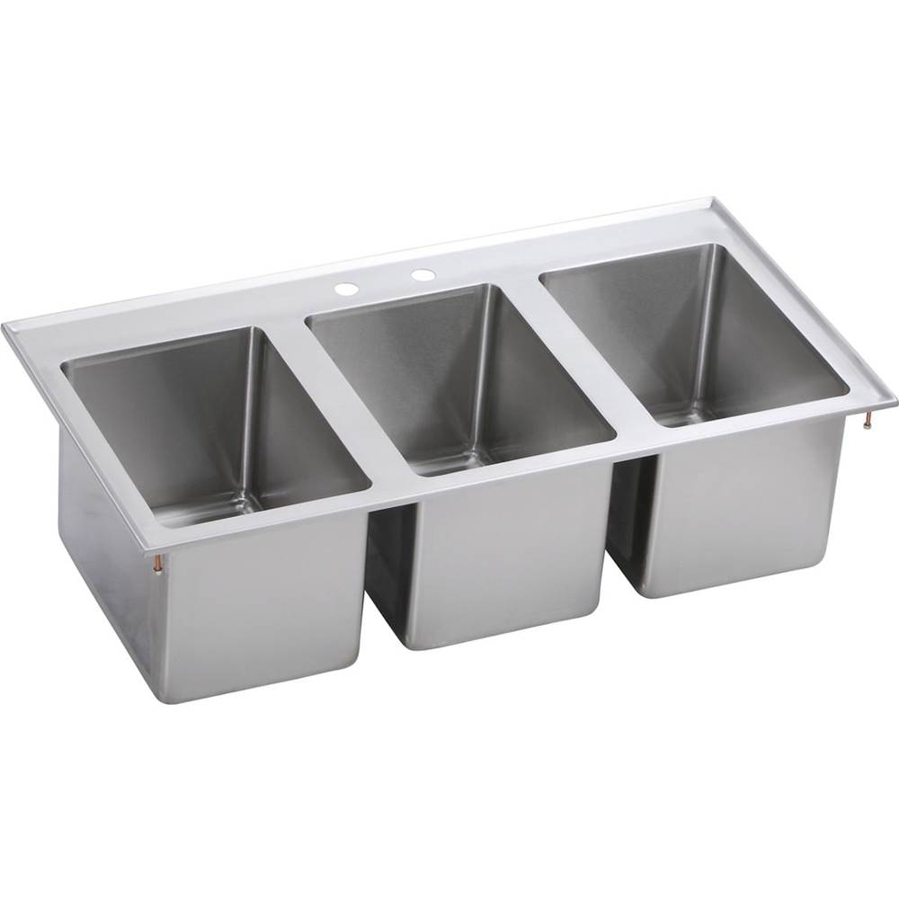 stainless steel 37 x 19 x 10 18 gauge three drop in compartme