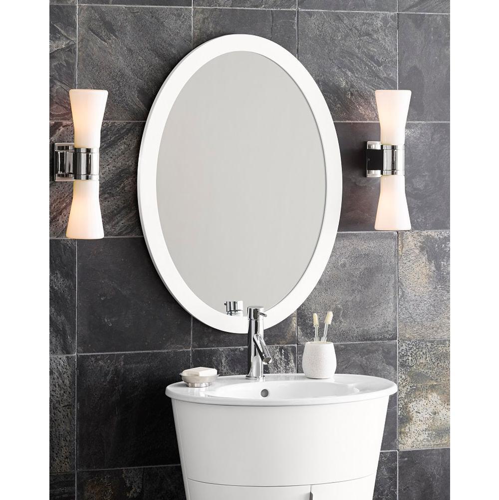 $270.00. 600023 E23 · Ronbow; 23u0027u0027 Contemporary Solid Wood Framed Oval Bathroom  Mirror In Glossy White ...